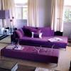 Фиолетовый диван в интерьере в гостиной — 50 фото примеров
