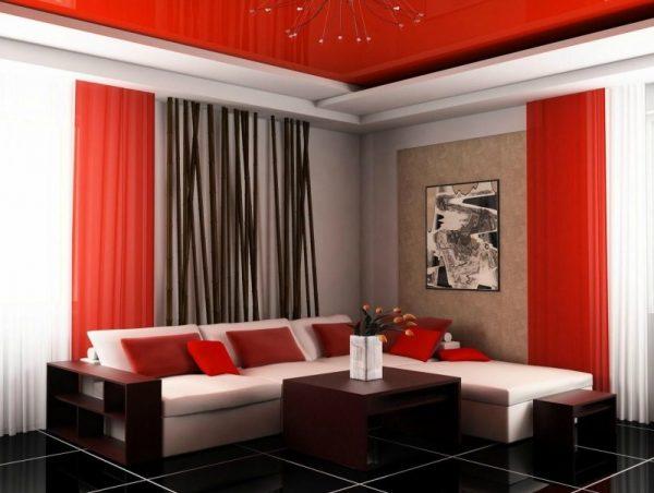 Эффектное сочетание красного, черного и белого цветов в интерьере