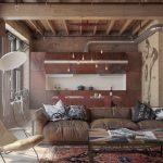 Кожаная мебель в гостиной в стиле лофт