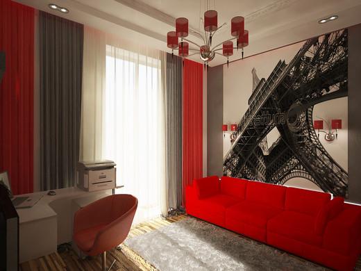 Красные шторы в гостиной в стиле хайтек