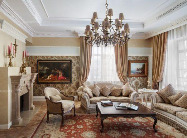 Мебель в интерьер гостиной в классическом стиле
