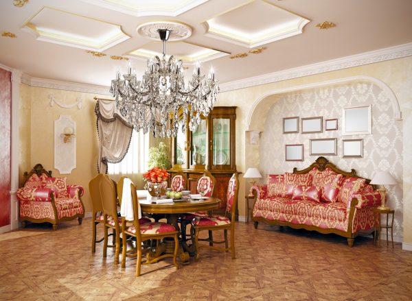 Интерьер гостиной с обеденной зоной