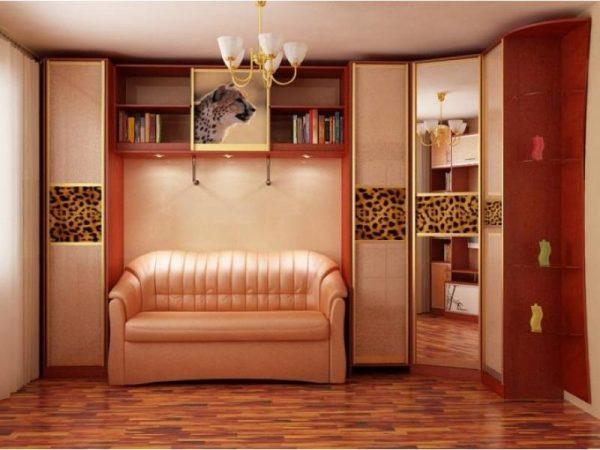 Угловой шкаф-купе в гостиную комнату