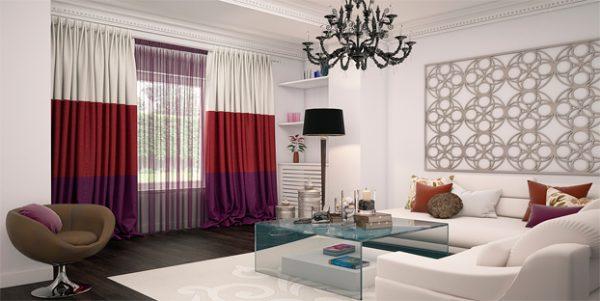 Стильные трехцветные шторы
