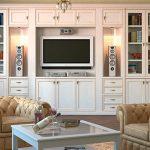 Мебель с распашными дверями в классическом стиле для гостиной