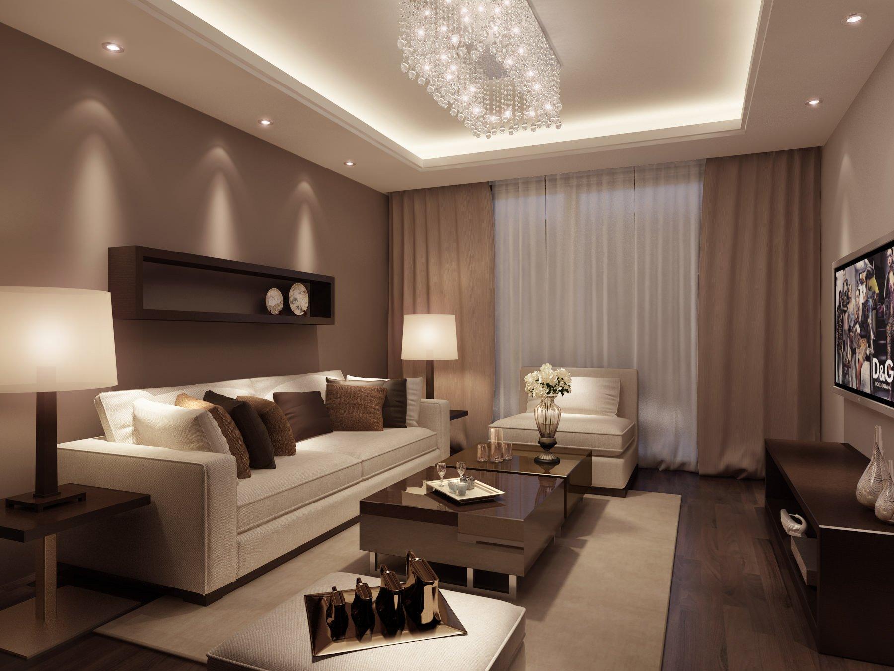 Шторы под цвет обоев в интерьере гостиной