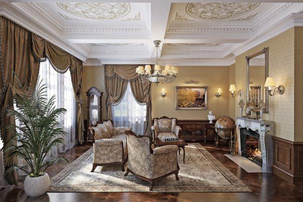 Парность предметов мебели в интерьере гостиной