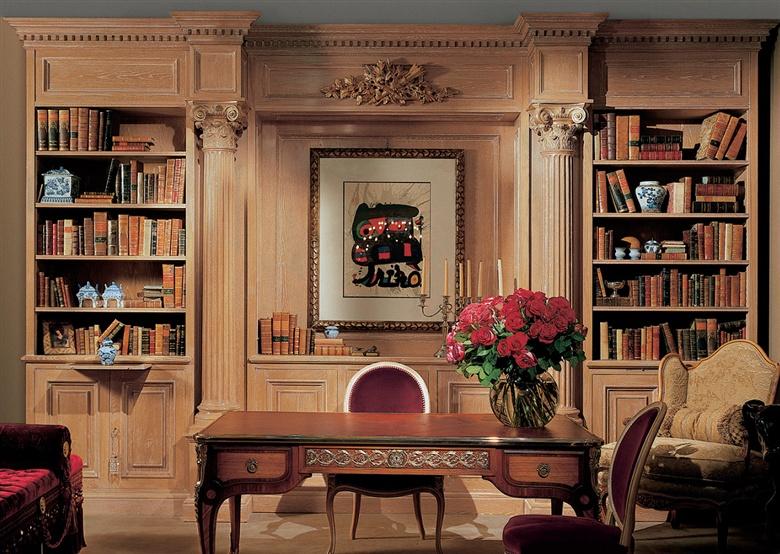 Библиотека в интерьере гостиной в классическом стиле