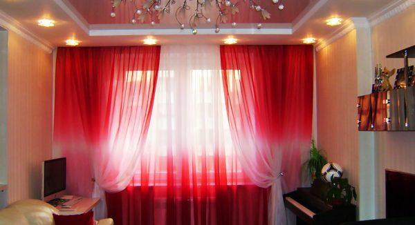 Интересные шторы с эффектом градиента: из красного в белый