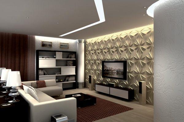 Стеновая панель в интерьере гостиной