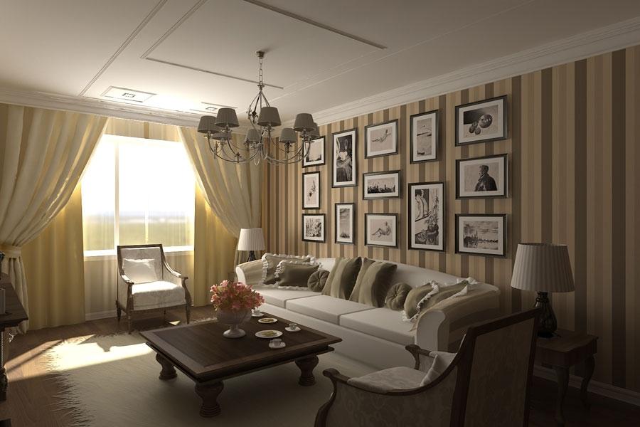 Гостиная в бежево-коричневых тонах