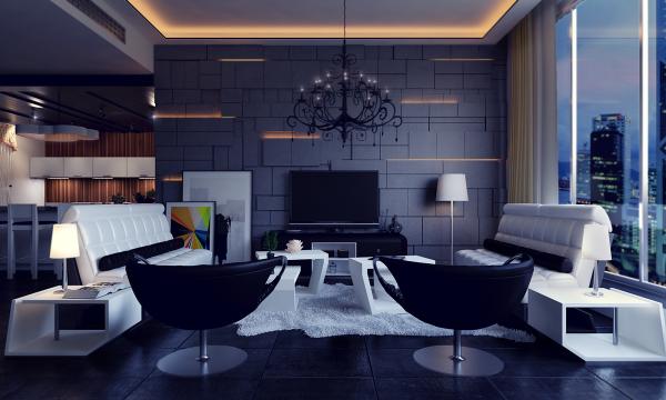 Интерьер современной гостиной в синих тонах