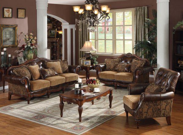 Уютная гостиная в коричневых тонах