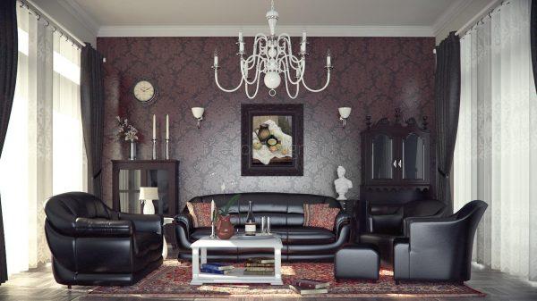 Мягкая мебель с обивкой из кожи в интерьере гостиной