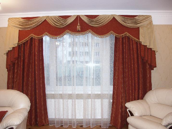 Красные шторы с ламбрекеном