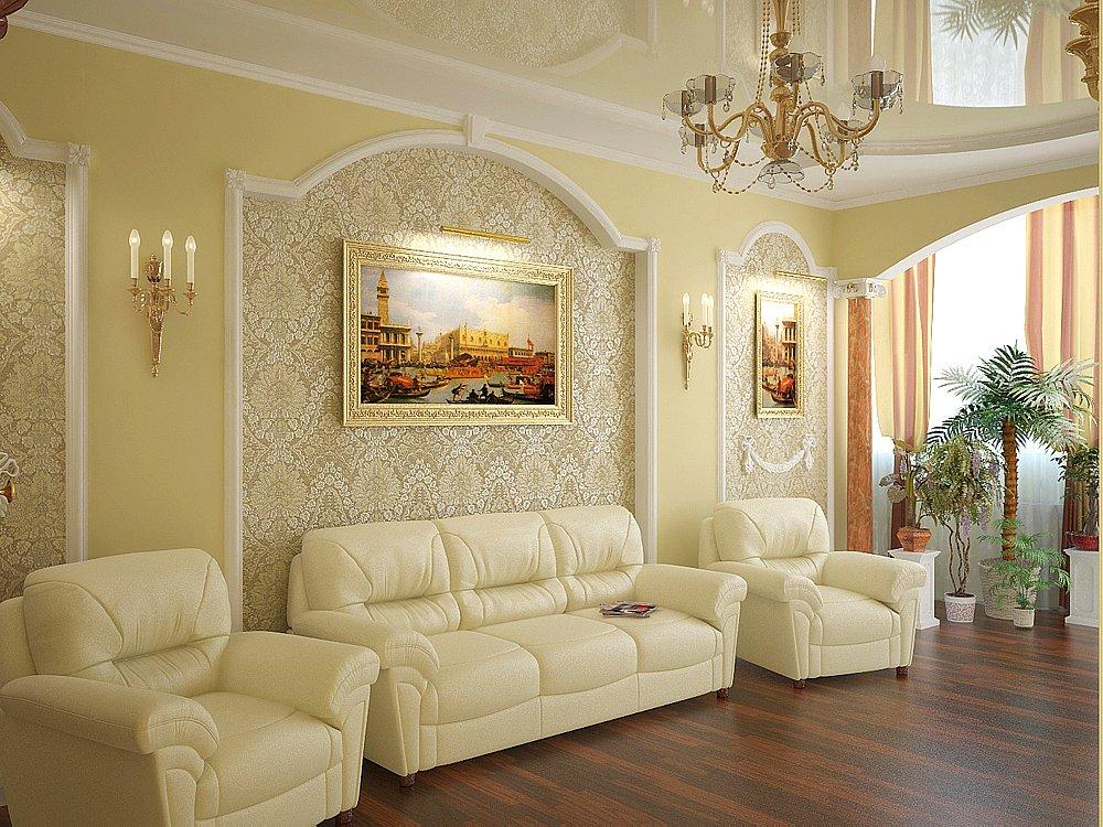Белая кожаная мебель в гостиной в классическом стиле