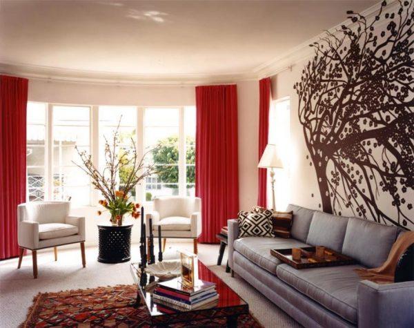 Сочетание красного и серого цветов в интерьере