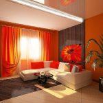 Дизайн интерьера гостиной в красных цветах