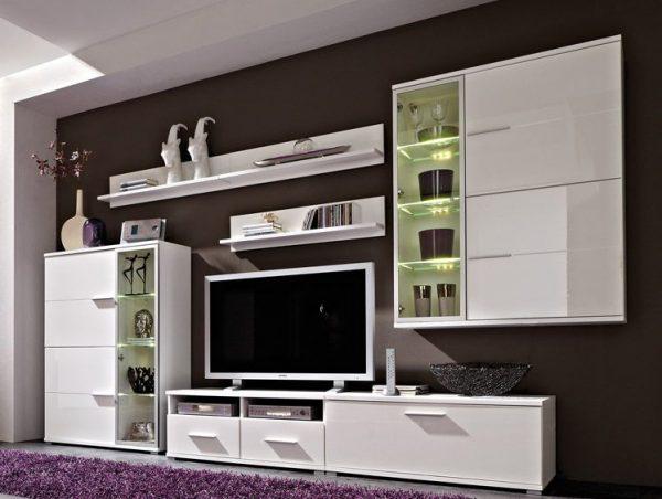 Модульная мебель в гостиной в стиле хайтек