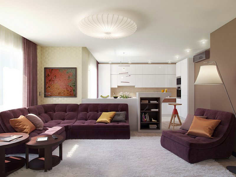 Сиреневая мебель в бежевой гостиной