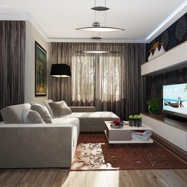 Компактный диван в интерьере гостиной