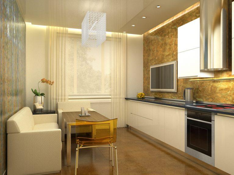 Кухня с телевизором и диваном дизайн
