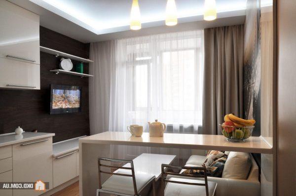 Вариант зонирования помещения кухни-гостиной