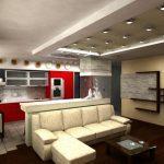 Интерьер кухни-гостиной 14 м в стиле хай-тек
