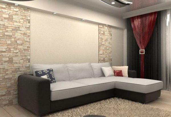 Угловой диван в спальне гостиной