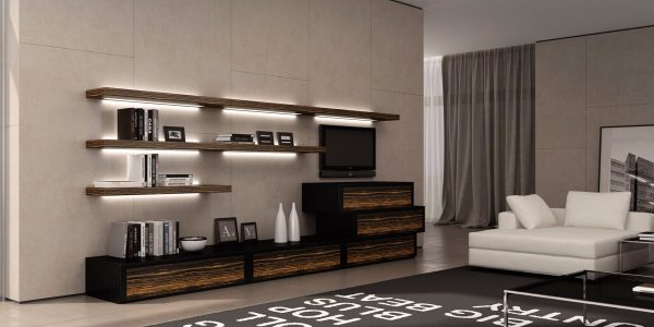 Открытые полки в интерьере гостиной