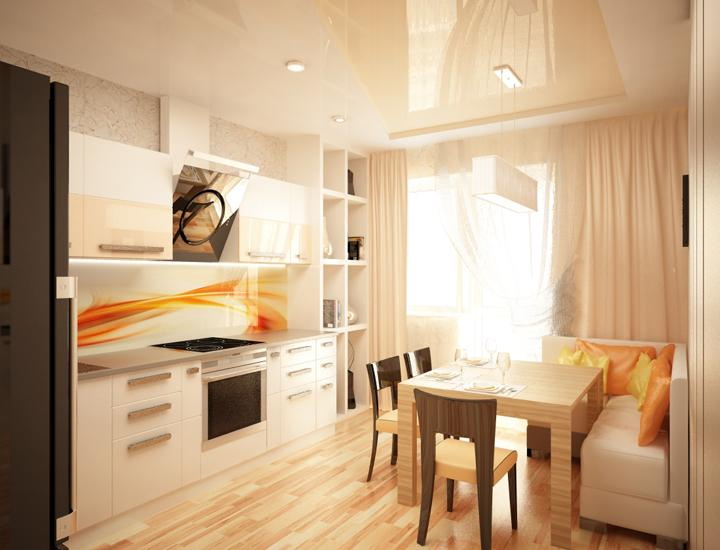 Квадратная кухня 14 кв.м