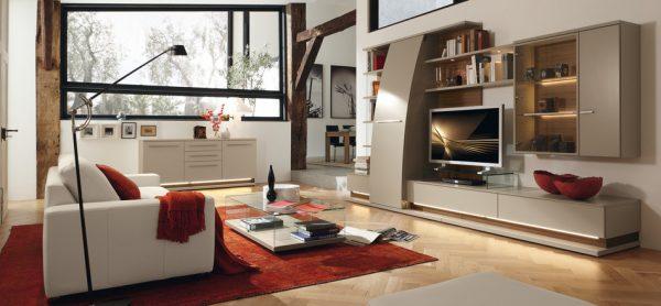 Современный интерьер гостиной с вариантами расстановки модульной мебели