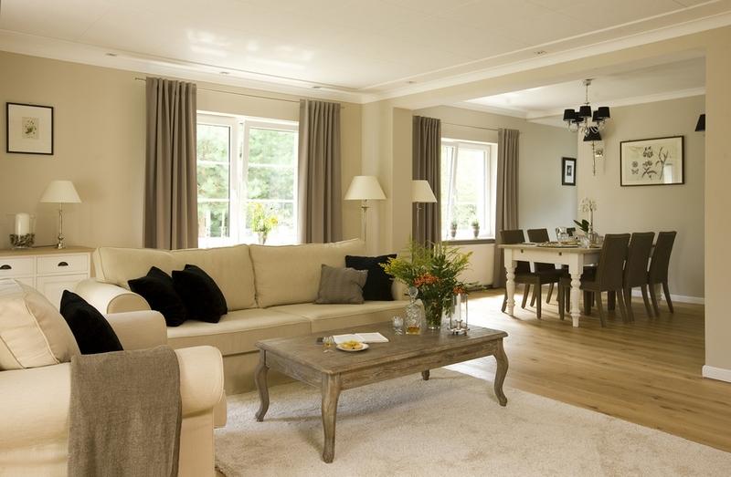 Интерьер бежевой гостиной с коричневыми акцентами
