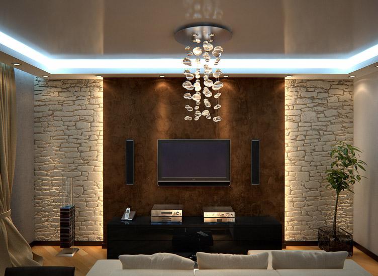 Дизайн зала с декоративным камнем фото 2015 современные идеи