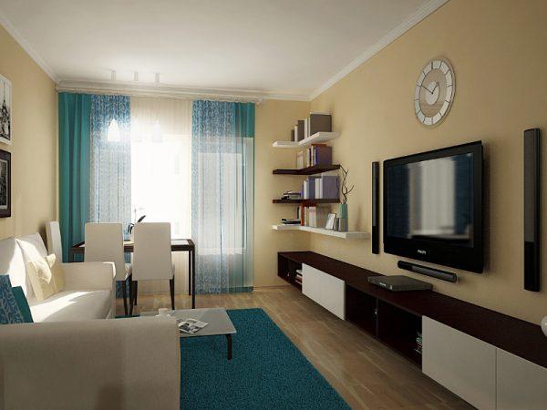 Бирюзовый цвет в бежевой гостиной, сочетание