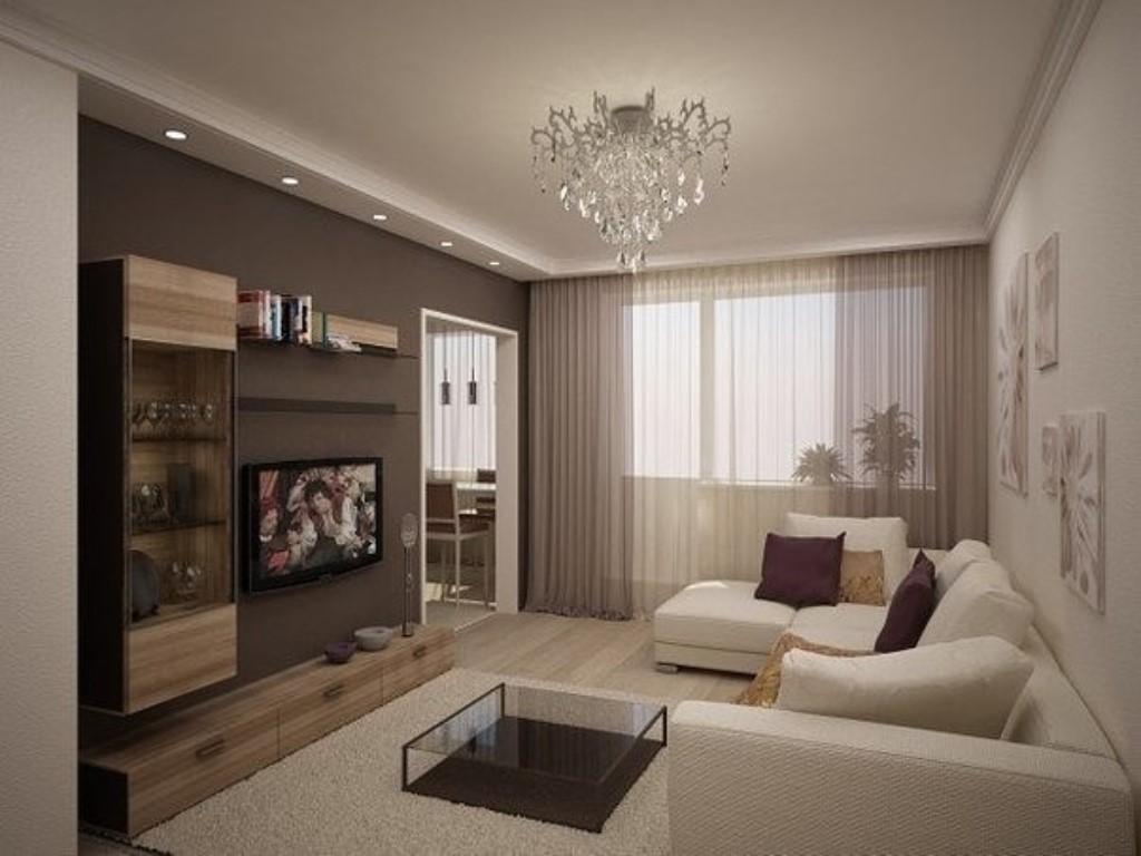 Бежево-коричневый интерьер гостиной