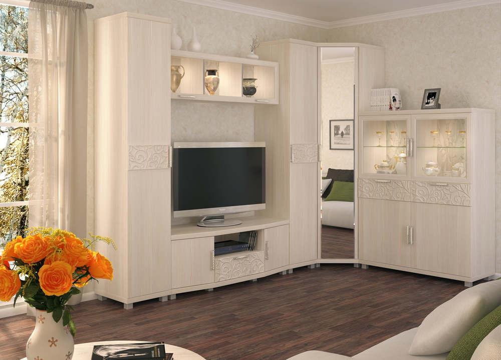 Белая модульная стенка с угловым шкафом