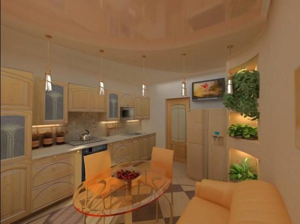 Персиковая кухня с глянцевым потолком