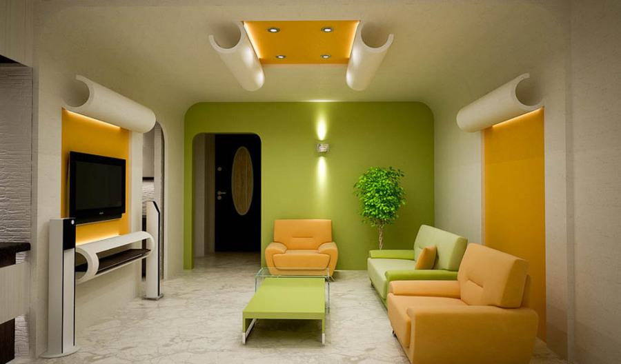 Желтый и зеленый в интерьере гостиной.