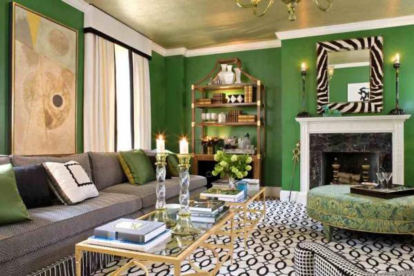 Интерьер зеленой гостиной