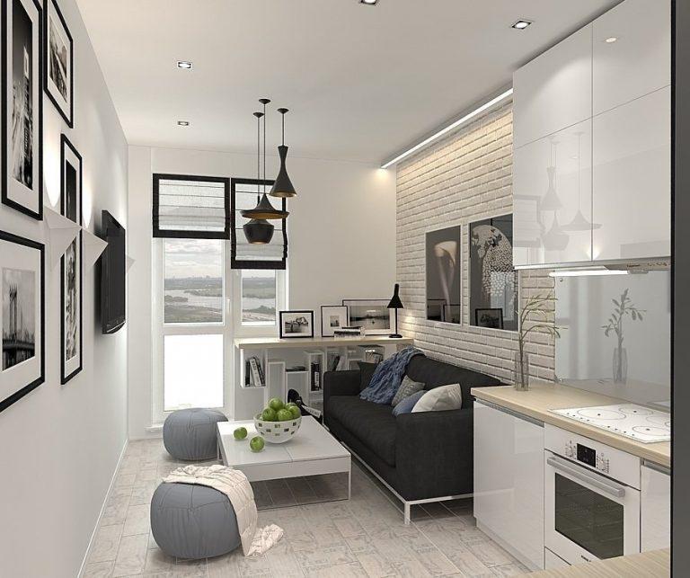 Кухня гостиная 11 кв м дизайн с диваном