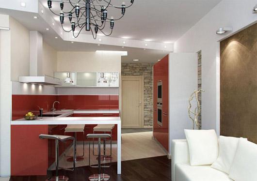 Белый диван на кухне-гостиной