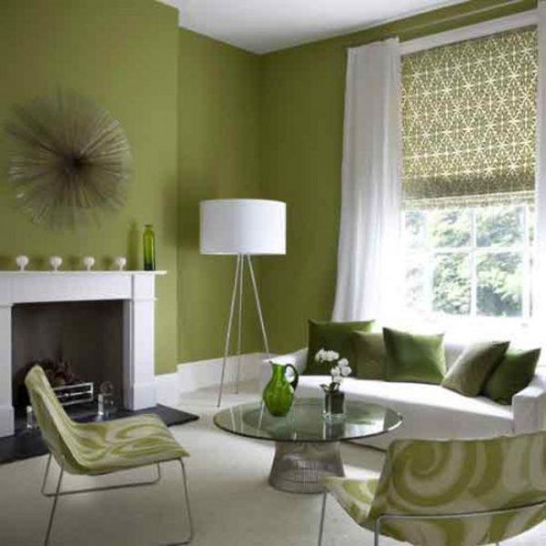 Сочетание желтого и зеленого цвета в интерьере.