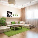 Зеленые акценты в бежевой гостиной