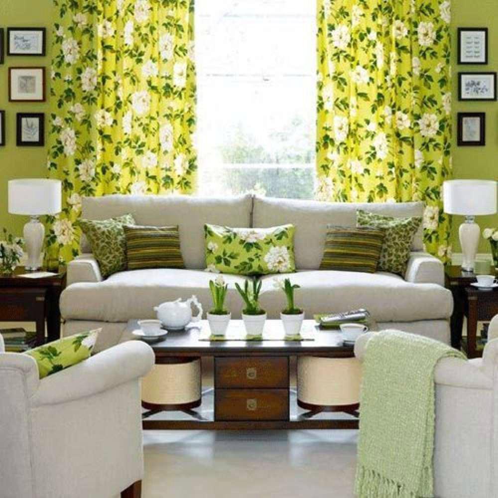 Бело-зеленая гостиная