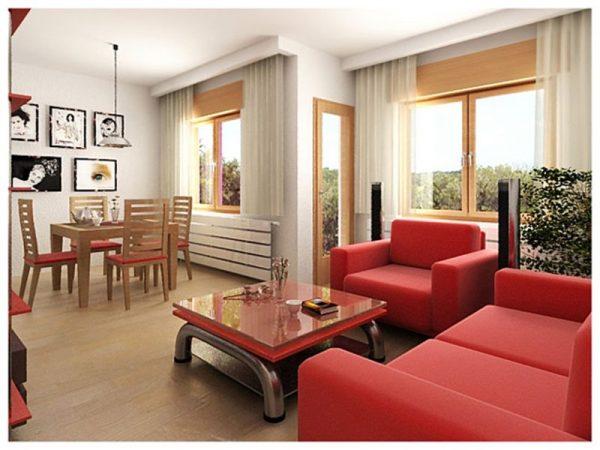 Дизайн гостиной с красным диваном