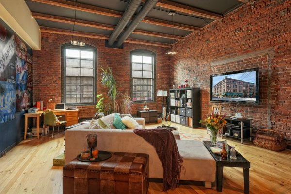 Элементы декора, подчеркивающие индустриальность помещения