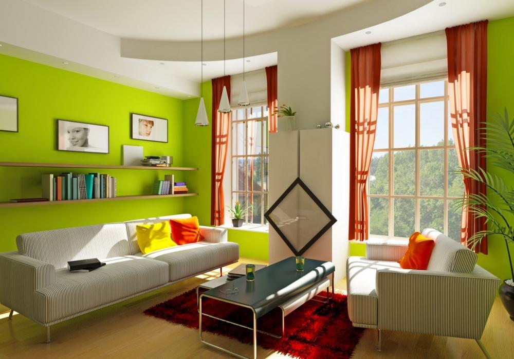 Зеленая гостиная с яркими аксессуарами