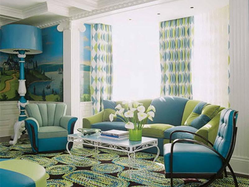 Сине зеленый цвет в интерьере
