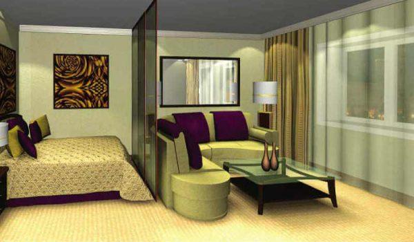 Интерьер спальни гостиной в фисташковом цвете